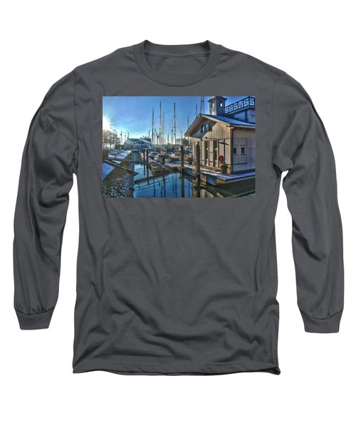 Ferry Harbour In Winter Long Sleeve T-Shirt by Frans Blok