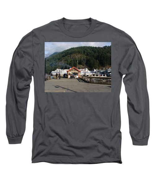 Long Sleeve T-Shirt featuring the painting Ferry Landed At Horseshoe Bay by Rod Jellison