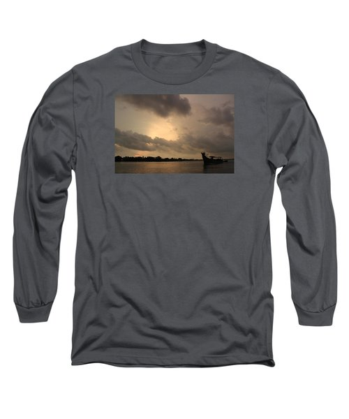 Ferry On The Way To Fort Kochi Long Sleeve T-Shirt by Jennifer Mazzucco