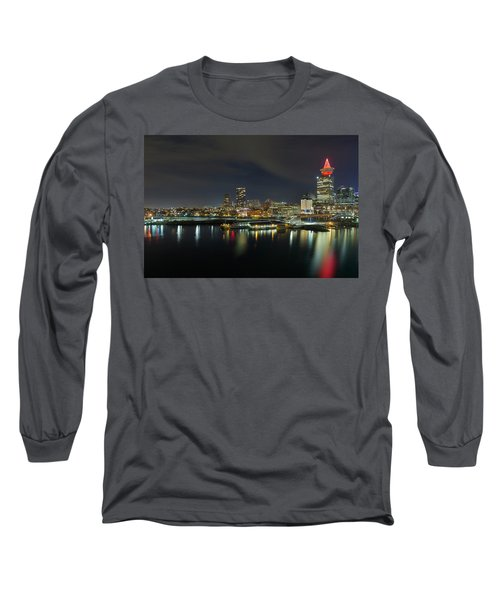 Ferry Terminal In Vancouver Bc At Night Long Sleeve T-Shirt