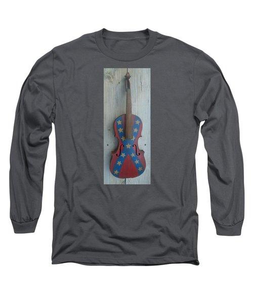 Fiddle Rebel Flag Long Sleeve T-Shirt
