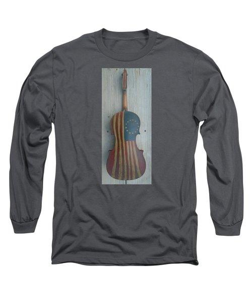 Fiddle Thirteen Star Flag Long Sleeve T-Shirt by Steve  Hester