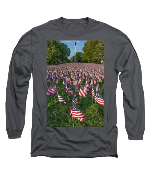 Field Of Flags At Boston's Soldiers And Sailors Monument Long Sleeve T-Shirt