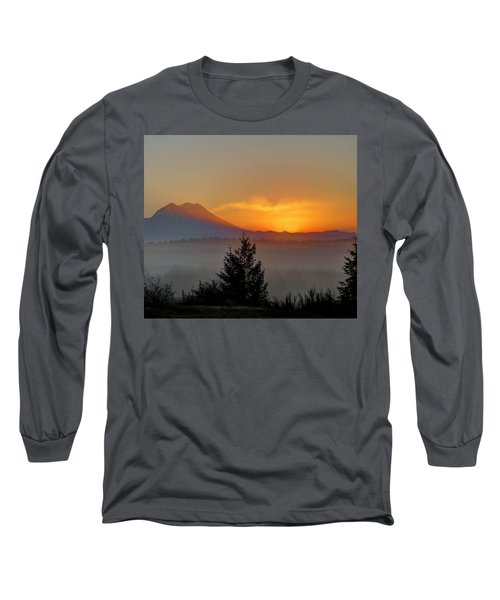 Fiery Fall Sunrise Long Sleeve T-Shirt by Peter Mooyman