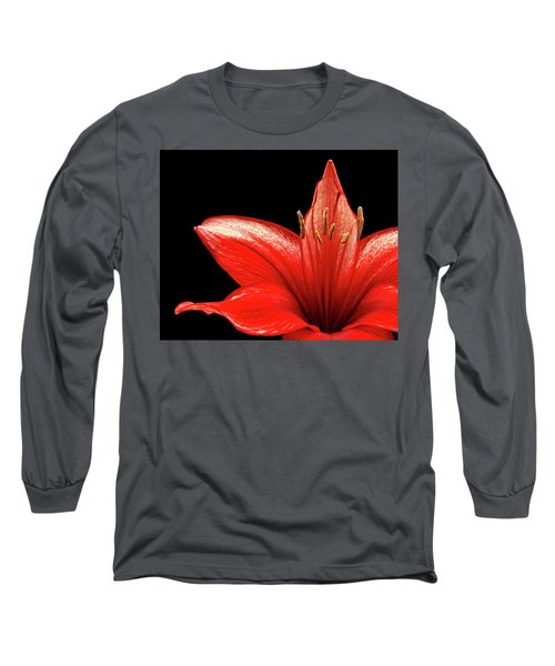 Long Sleeve T-Shirt featuring the photograph Fiery Red by Judy Vincent