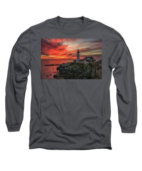 Fiery Sunrise At Portland Head Light Long Sleeve T-Shirt