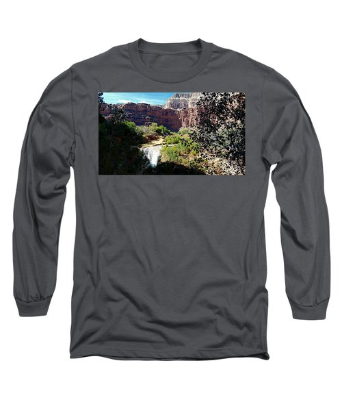 Long Sleeve T-Shirt featuring the photograph Fifty Falls And Havasupai Falls Havasupai Indian Reservation by Joseph Hendrix