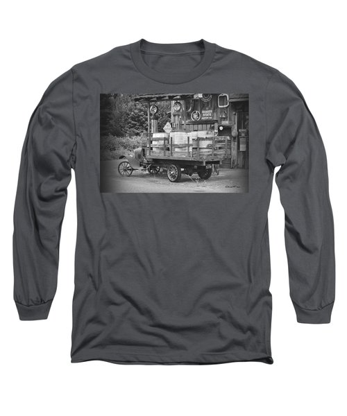 Fill Er Up          B And W Long Sleeve T-Shirt