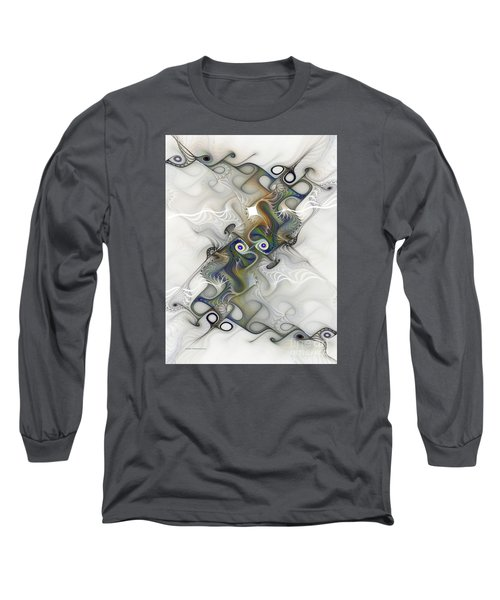 Long Sleeve T-Shirt featuring the digital art Fine Traces by Karin Kuhlmann