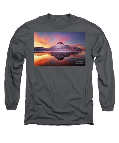 Fire And Ice - Flatiron Reservoir, Loveland Colorado Long Sleeve T-Shirt by Ronda Kimbrow