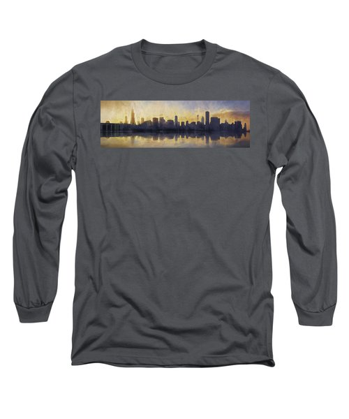 Fire In The Sky Chicago At Sunset Long Sleeve T-Shirt by Scott Norris