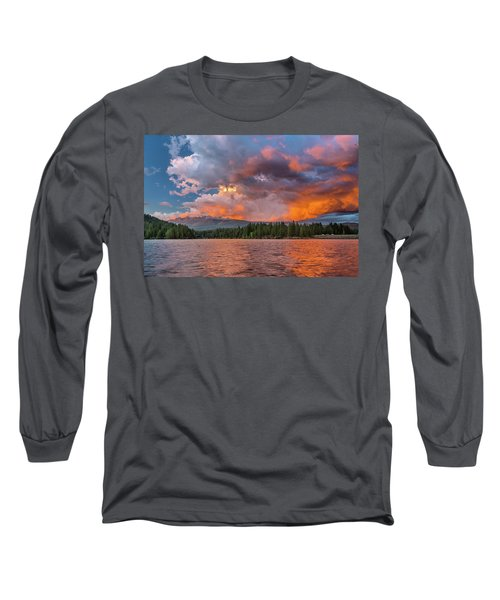 Fire Sunset Over Shasta Long Sleeve T-Shirt