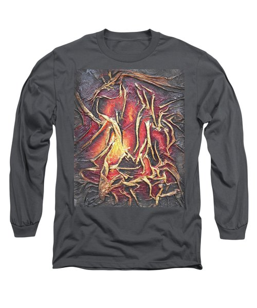Long Sleeve T-Shirt featuring the mixed media Firelight by Angela Stout