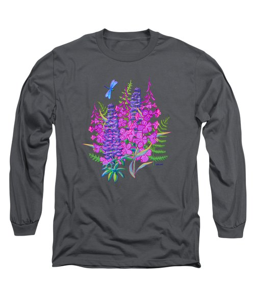 Fireweed And Lupine T Shirt Design Long Sleeve T-Shirt by Teresa Ascone