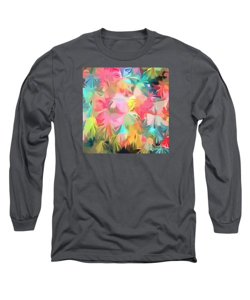 Fireworks Floral Abstract Square Long Sleeve T-Shirt by Edward Fielding