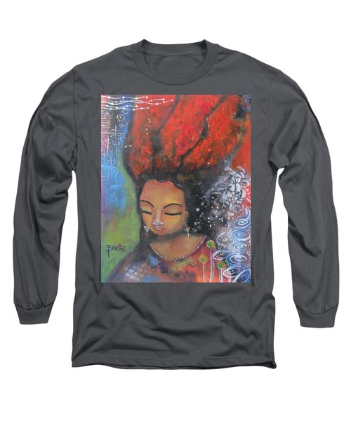 Long Sleeve T-Shirt featuring the painting Firey Hair Girl by Prerna Poojara
