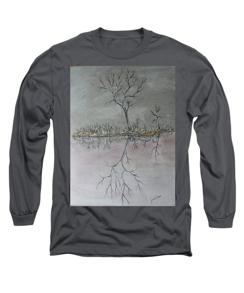 Long Sleeve T-Shirt featuring the drawing First Frost by Jack G Brauer