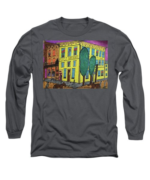 Long Sleeve T-Shirt featuring the painting First National Hotel. Historic Menominee Art. by Jonathon Hansen