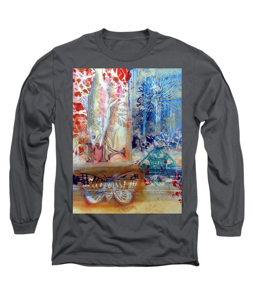 Long Sleeve T-Shirt featuring the mixed media Fish Collage #1 by Rose Legge