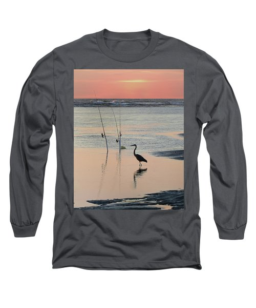 Fisherman Heron Long Sleeve T-Shirt by Deborah Smith
