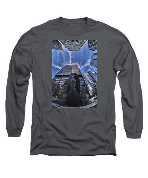 Fisheye View Of Chicago's Picasso Long Sleeve T-Shirt