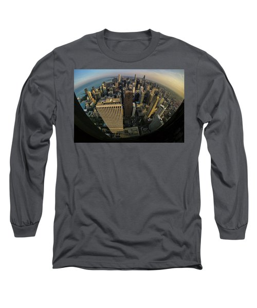 Fisheye View Of Dowtown Chicago From Above  Long Sleeve T-Shirt