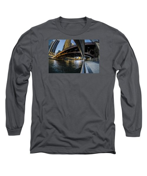Fisheye View From The Chicago Riverwalk Long Sleeve T-Shirt