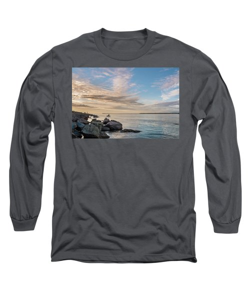 Long Sleeve T-Shirt featuring the photograph Fishing Along The South Jetty by Greg Nyquist
