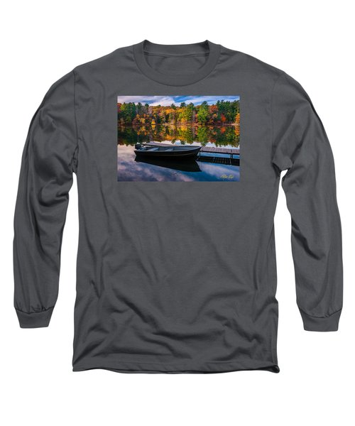 Long Sleeve T-Shirt featuring the photograph Fishing Boat On Mirror Lake by Rikk Flohr