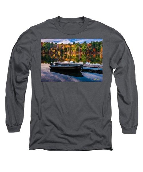 Fishing Boat On Mirror Lake Long Sleeve T-Shirt