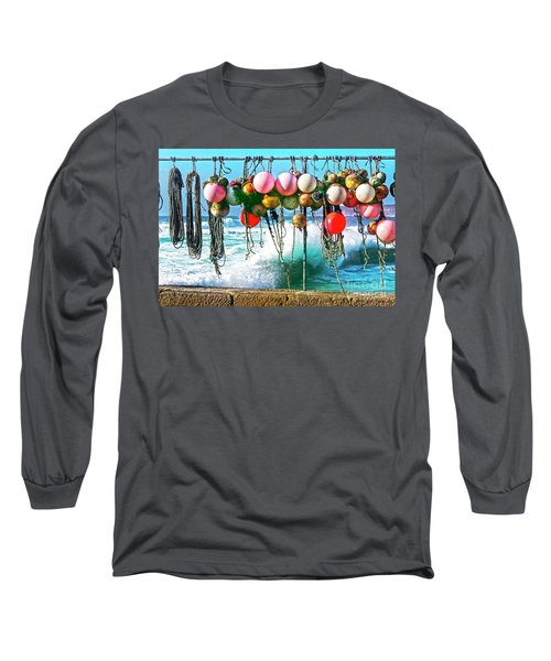 Long Sleeve T-Shirt featuring the photograph Fishing Buoys by Terri Waters