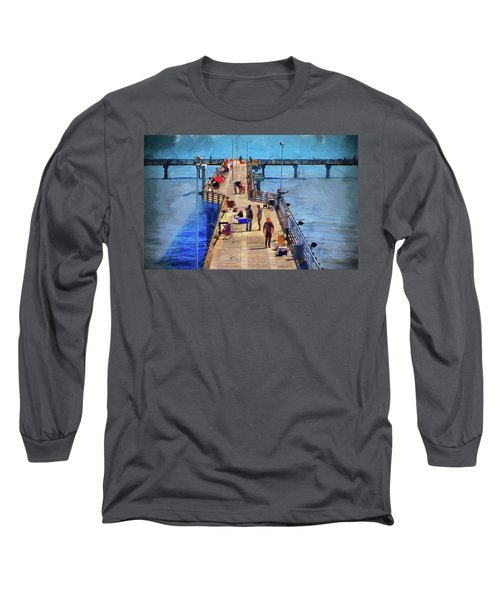 Fishing Off Galvaston Pier Long Sleeve T-Shirt