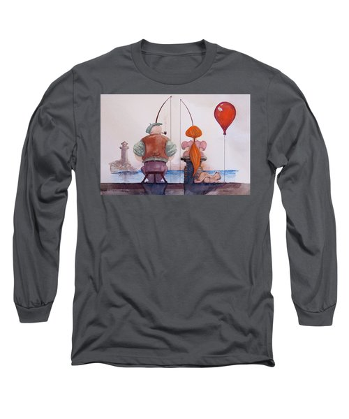 Long Sleeve T-Shirt featuring the painting Fishing With Grandpa by Geni Gorani