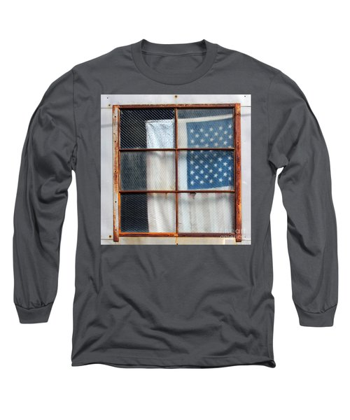 Flag In Old Window Long Sleeve T-Shirt by Cheryl Del Toro