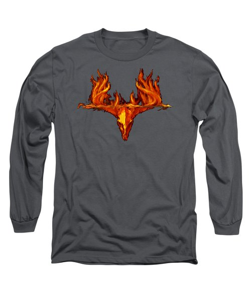 Flame On Buck With Arrow Long Sleeve T-Shirt by Rob Corsetti