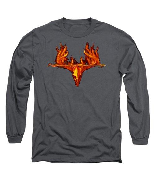 Flame On Buck With Arrow Long Sleeve T-Shirt