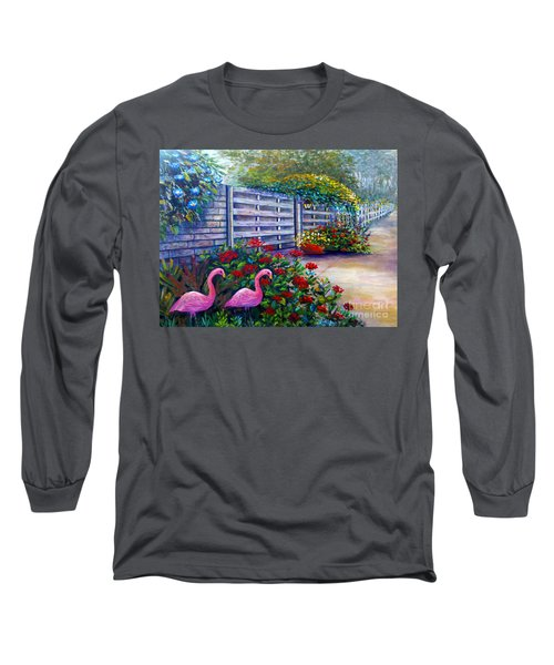 Long Sleeve T-Shirt featuring the painting Flamingo Gardens by Lou Ann Bagnall