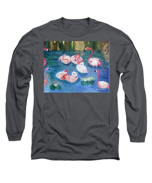 Long Sleeve T-Shirt featuring the painting Flamingos Diptich Right by Vicky Tarcau