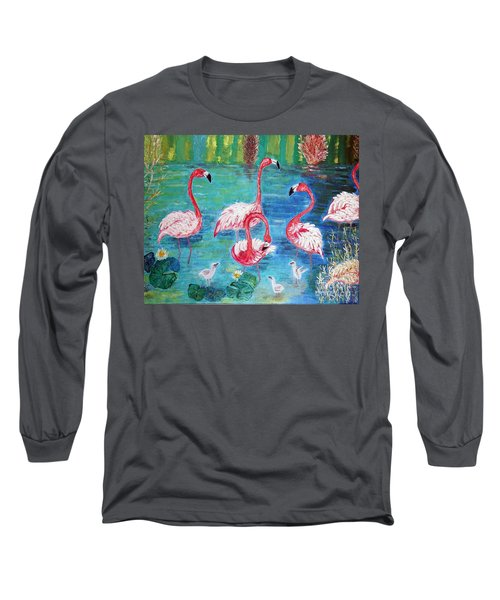 Long Sleeve T-Shirt featuring the painting Flamingos Diptich Left by Vicky Tarcau