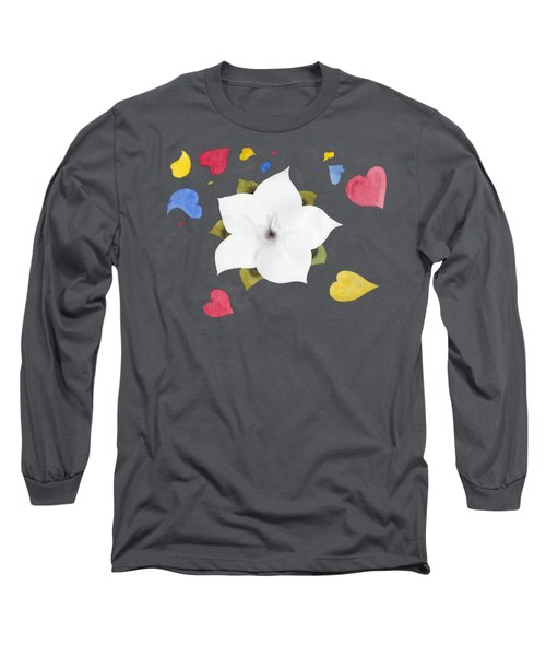 Long Sleeve T-Shirt featuring the painting Fleur Et Coeurs by Marc Philippe Joly