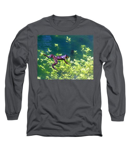 Floating Frog Long Sleeve T-Shirt by Nick Gustafson