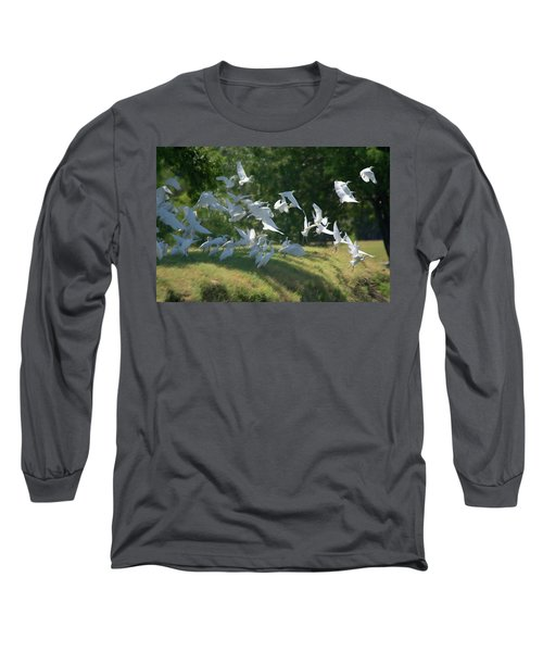 Flock Of Egrets In Flight Long Sleeve T-Shirt