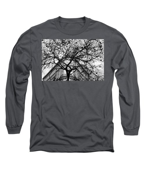 Flood Building - San Francisco - Corner Tree View Black And White Long Sleeve T-Shirt