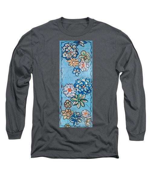 Floor Cloth Blue Flowers Long Sleeve T-Shirt