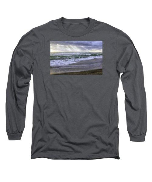 Florida Treasure Coast Beach Storm Waves Long Sleeve T-Shirt by Betty Denise