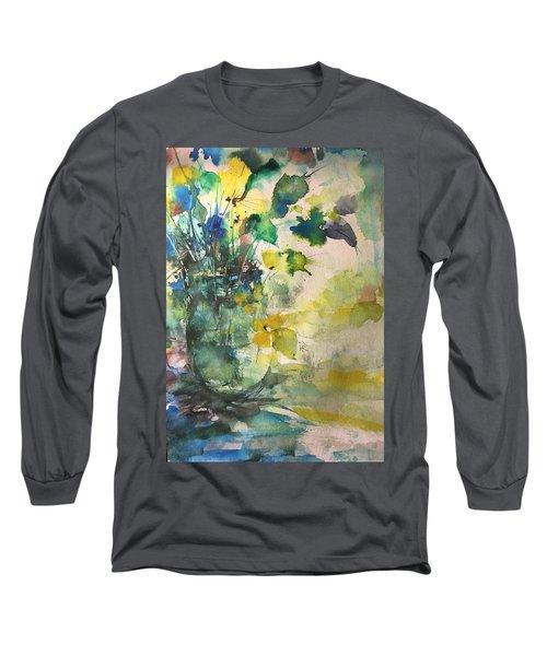 Flower And Vase Stilllife  Long Sleeve T-Shirt by Robin Miller-Bookhout