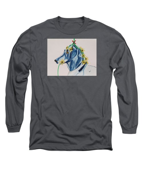 Long Sleeve T-Shirt featuring the painting Flower Dog 8 by Hilda and Jose Garrancho