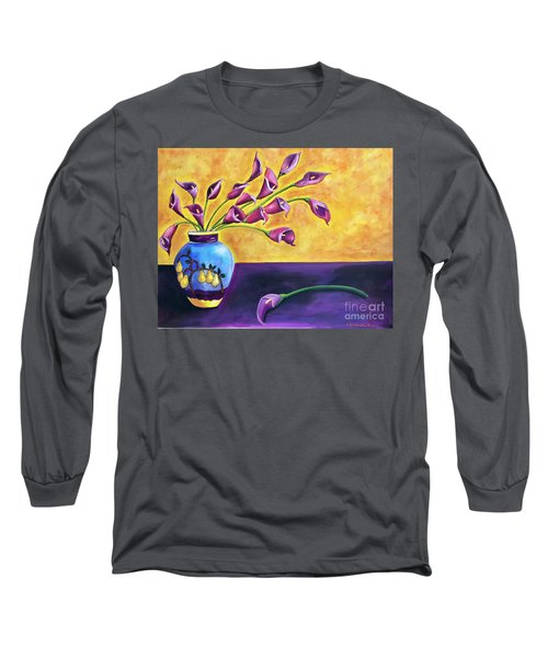 Flowers In Blue Vase Long Sleeve T-Shirt
