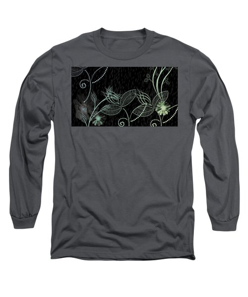 Flowers And Rain Long Sleeve T-Shirt by Carol Crisafi