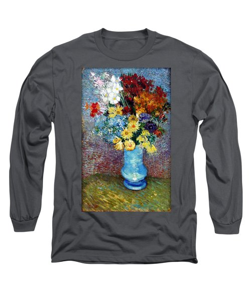 Long Sleeve T-Shirt featuring the painting Flowers In A Blue Vase  by Van Gogh